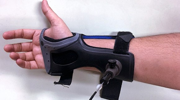 forearm of person wearing device