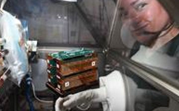 Astronaut looking at tissue chip technology