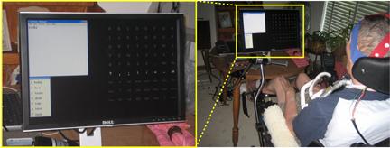 El cuadro derecho muestra una persona severamente discapacitada por esclerosis lateral amiotrófica (ELA) utilizando el sistema Wadsworth de interfaz cerebro-computadora (BCI) en su casa. Usa un gorro con electrodos en 8 canales para registrar las señales de las ondas cerebrales (EEG) que controla el BCI. El cuadro izquierdo muestra una toma de cerca de la pantalla de su computadora. Una matriz destellante con posibles selecciones se encuentra en la parte derecha de la pantalla, un editor de texto se encuentra en la parte superior izquierda, y un programa deletreador predictivo se encuentra en la parte inferior izquierda. Con este sistema, puede usar cualquier programa de Windows que pueda ser operado con un teclado. (Fotografía cortesía del Centro Wasdworth, del Departamento de Salud del Estado de Nueva York).