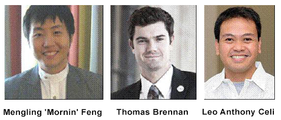 "Photos of Mengling ""Mornin"" Feng, Thomas Brennan, and Leo Anthony Celi"