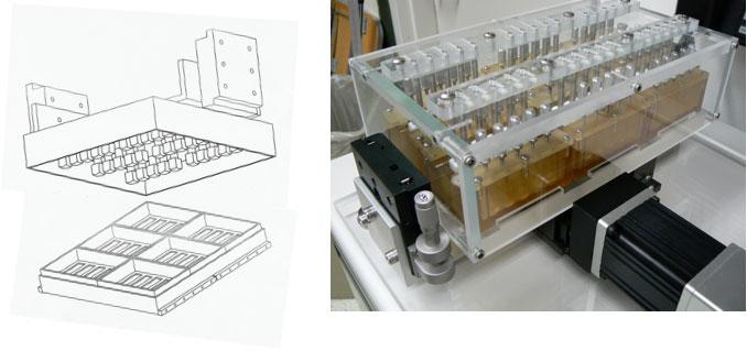 Un biorreactor deslizante de contacto hecho a la medida se utiliza para mejorar las propiedades mecánicas (la capacidad de soportar la tensión y compresión) de cartílago producido por las células madre mesenquimales en vitro.