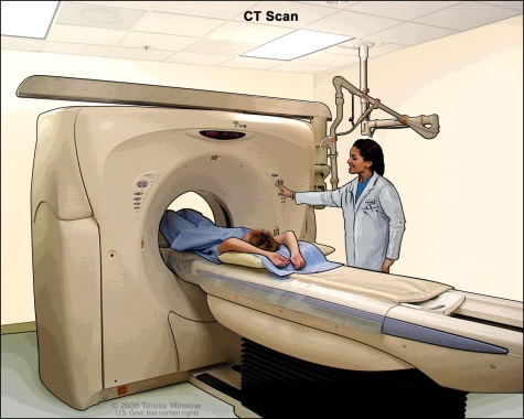 This is an illustration of a patient moving into the bore of a CT scanner.