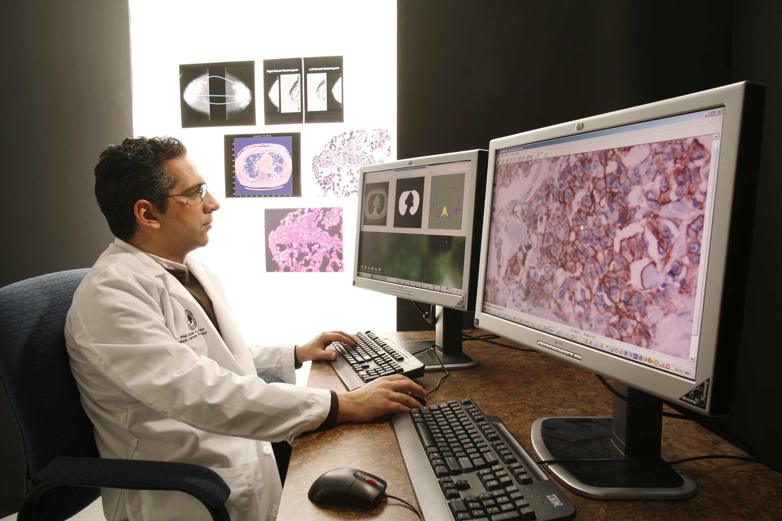 doctor looking at medical images on a computer