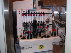 Photo of lab equipment for radiochemical synthesis