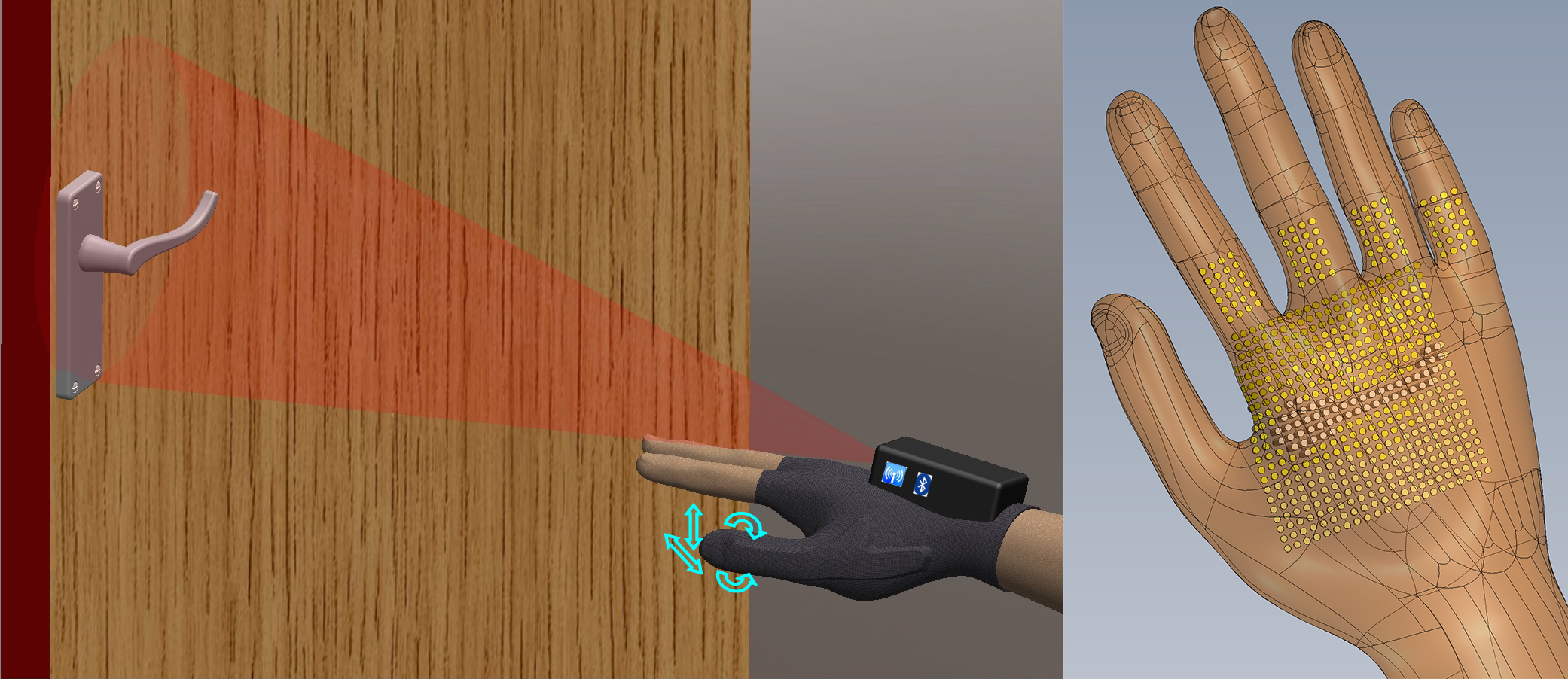 Illustration of assistive device to help the visually impaired grasp objects