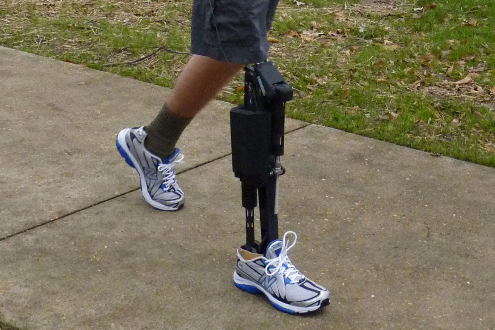 Image of robotic prosthetic from the knee down.