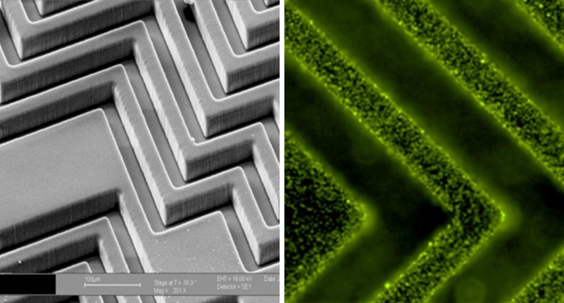 detail of herringbone chip feature