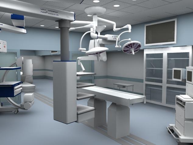 Ilustración de un quirófano con muchas máquinas diferentes que podrían utilizarse para obtención de imágenes