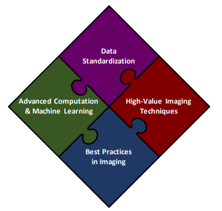 4 puzzle pieces form a diamond shape with each piece stating an area of focus in imaging research.  The four areas are data standardization, high-value imaging techniques, best practices in imaging, and advanced computation and machine learning.