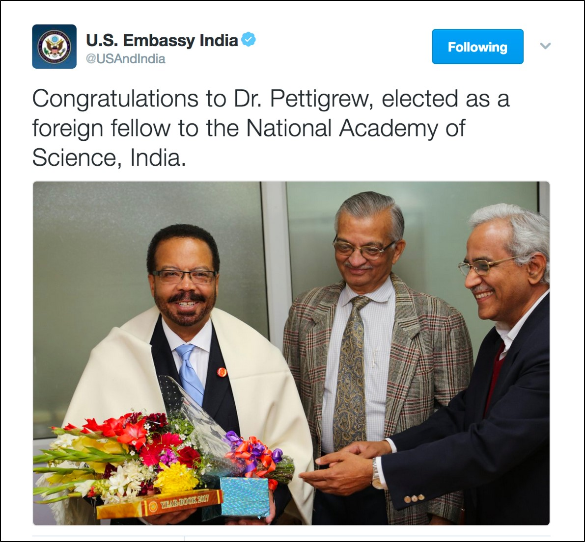 Image of a tweet from the U.S. Embassy in India with Dr. Pettigrew, NIBIB Director being inducted into Academy of Sciences, India.
