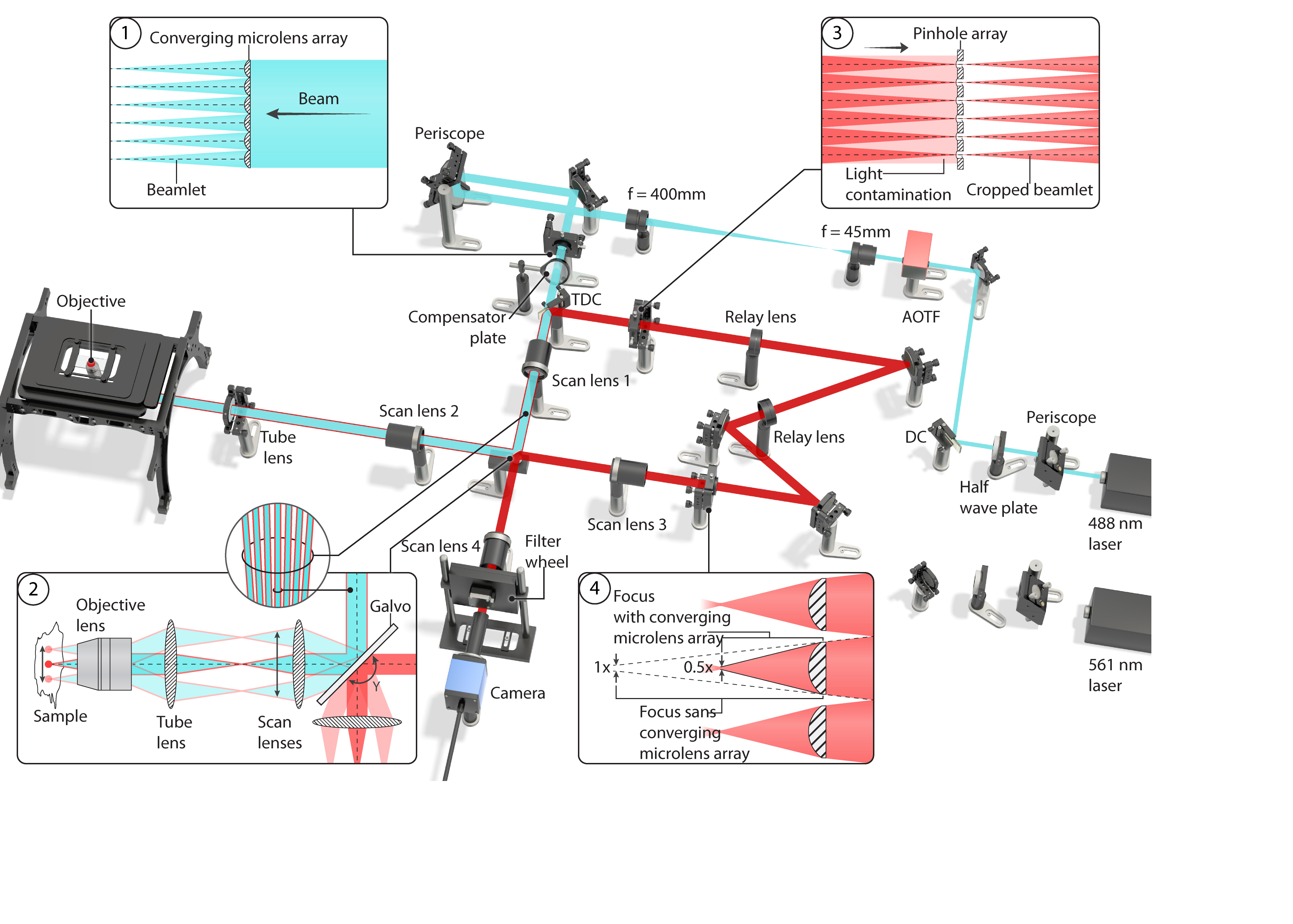 A drawn images of the microscope set up including mirrors and lasers.