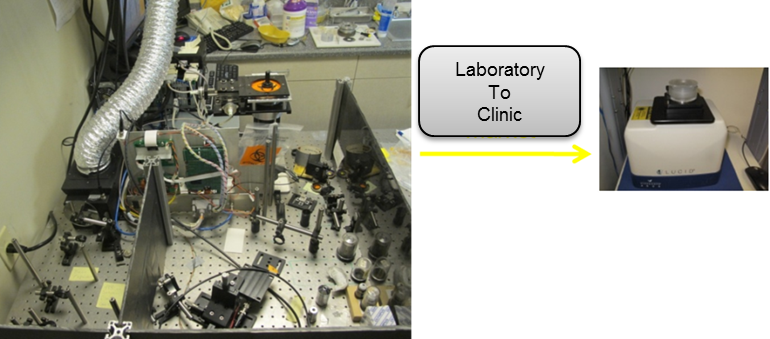 This is an image of a smaller portable version of the laboratory's cancer detection system.