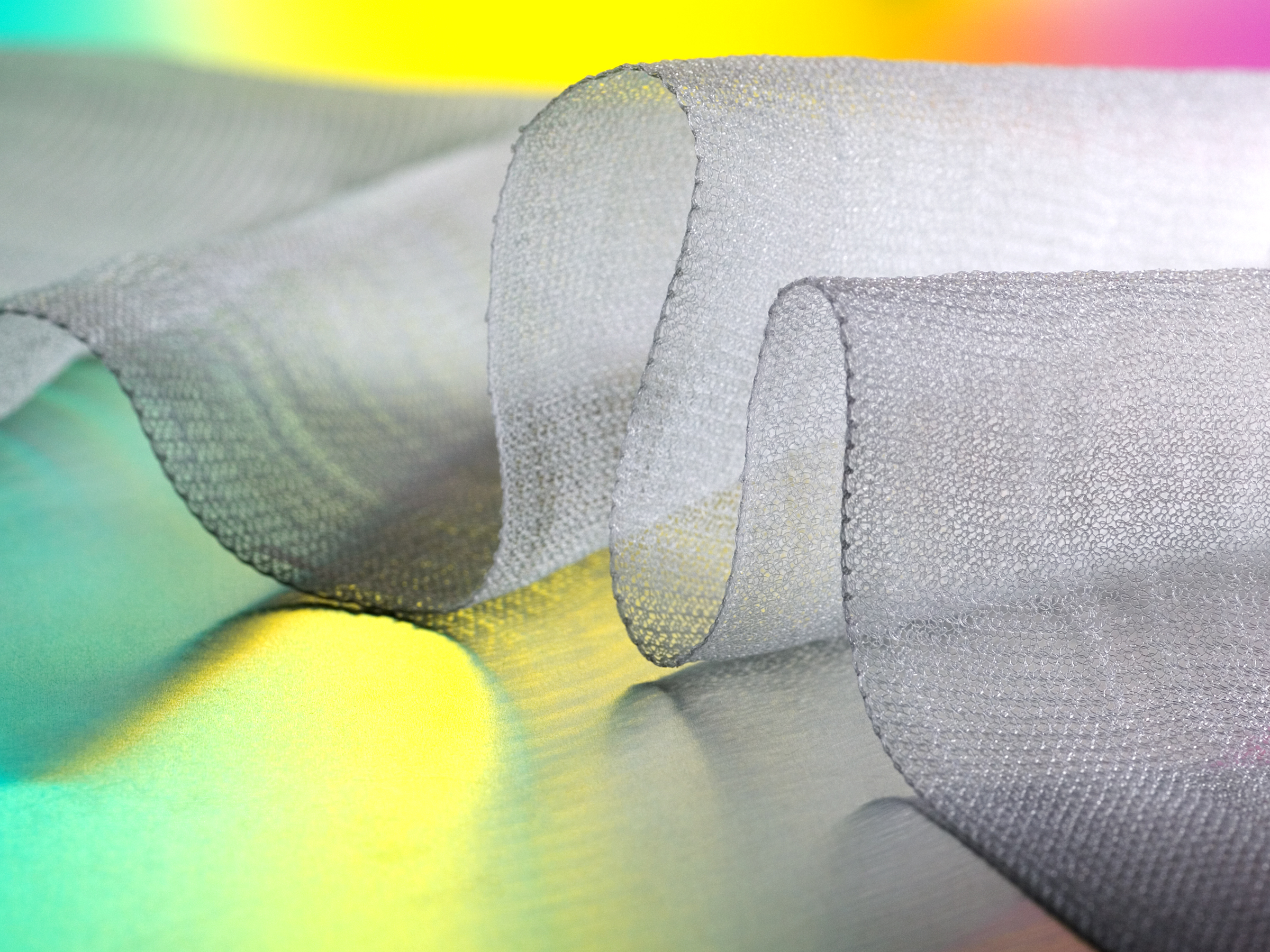 TephaFLEX Surgical Mesh made from knitted filaments of TephaFLEX absorbable biopolymer.