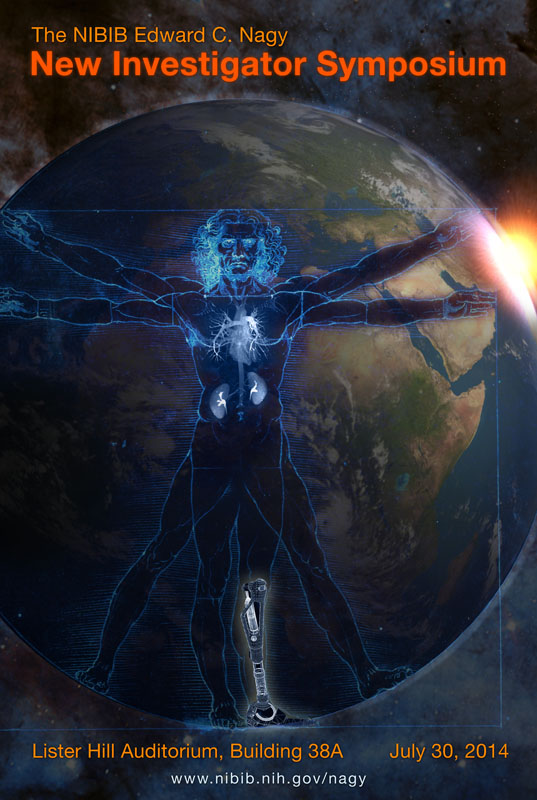 Image of poster for Nagy symposium. There is a translucent man standing in front of earth. He has a prosthetic on his leg.