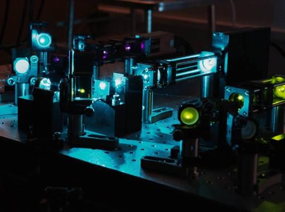 Laser set-up in high resolution optical imaging laboratory.