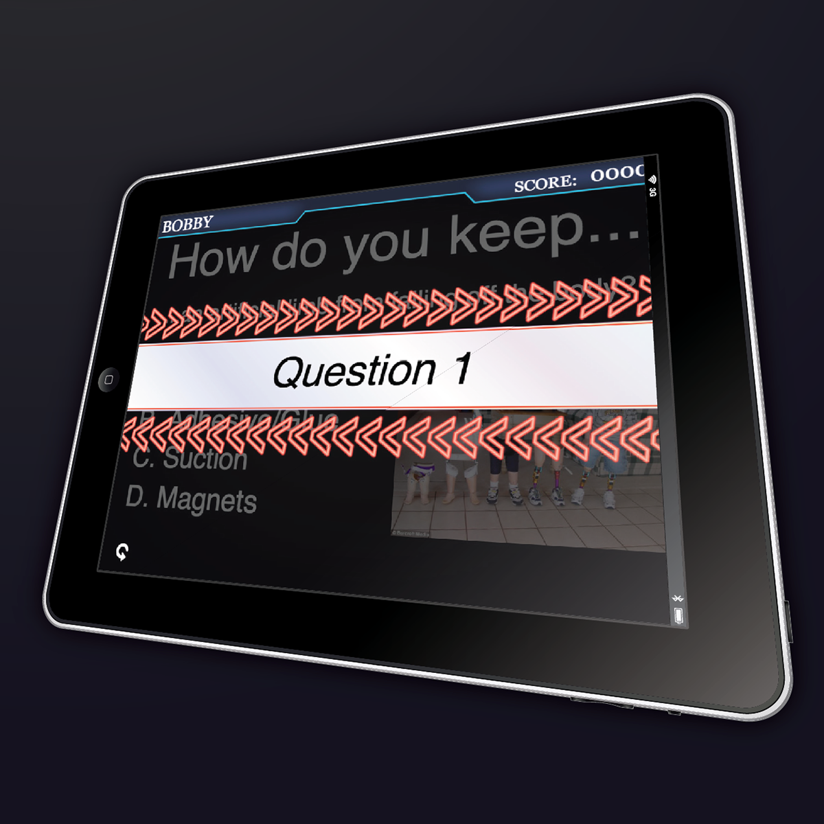 Image of a tablet displaying a question from the game