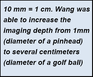This is a sidebar definition. Ten milimeters equals one centimeter. Wang was able to increase the imaging depth from one milimeter or the diameter of a pinhead to several centimeters or the diameter of a golf ball