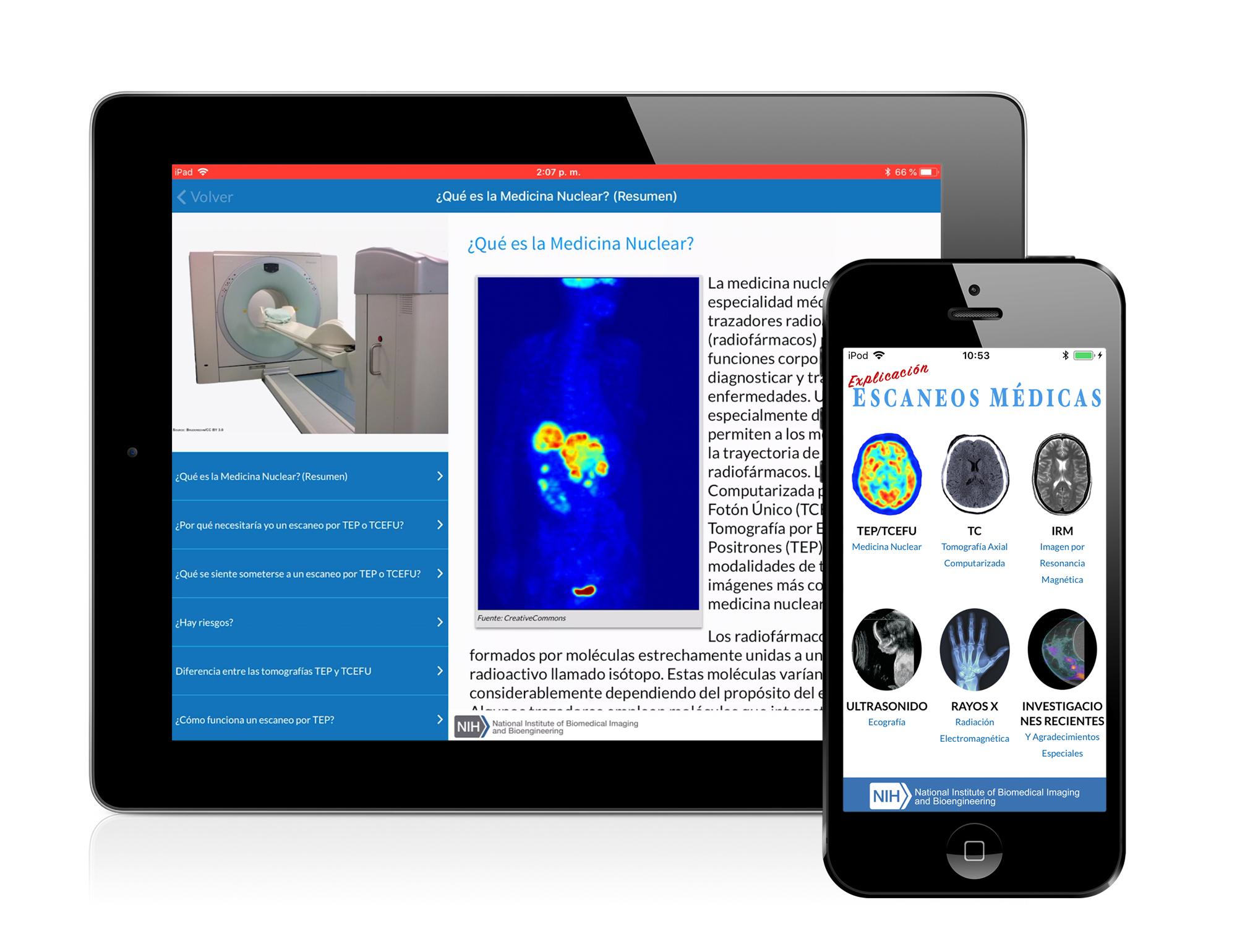 App de Imágenes Médicas mostrado en iPhone y iPad