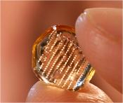Imagen de un parche de microagujas, del tamaño de una yema del dedo, utilizado para administrar vacunas contra la influenza