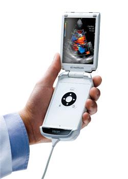 Esta es una foto del Vscan de General Electric, un aparato de ultrasonido portátil