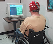 Photo of person in a wheel chair looking at a computer monitor.