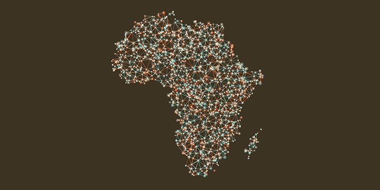 Map of Africa with network of data points