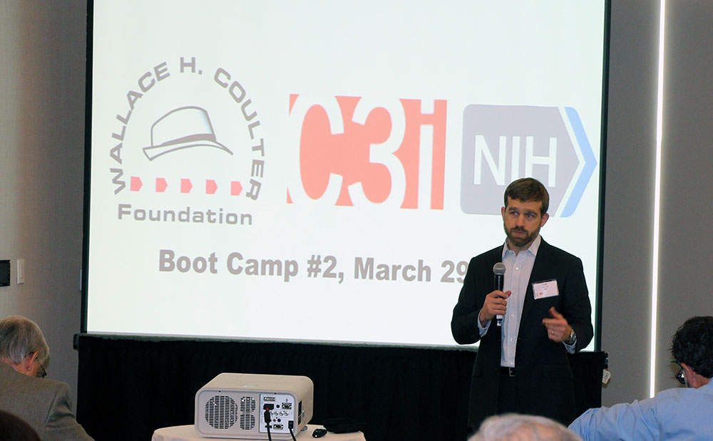 Todd Merchak, NIBIB program specialist, delivers closing remarks during the final session biotech commercialization boot camp.