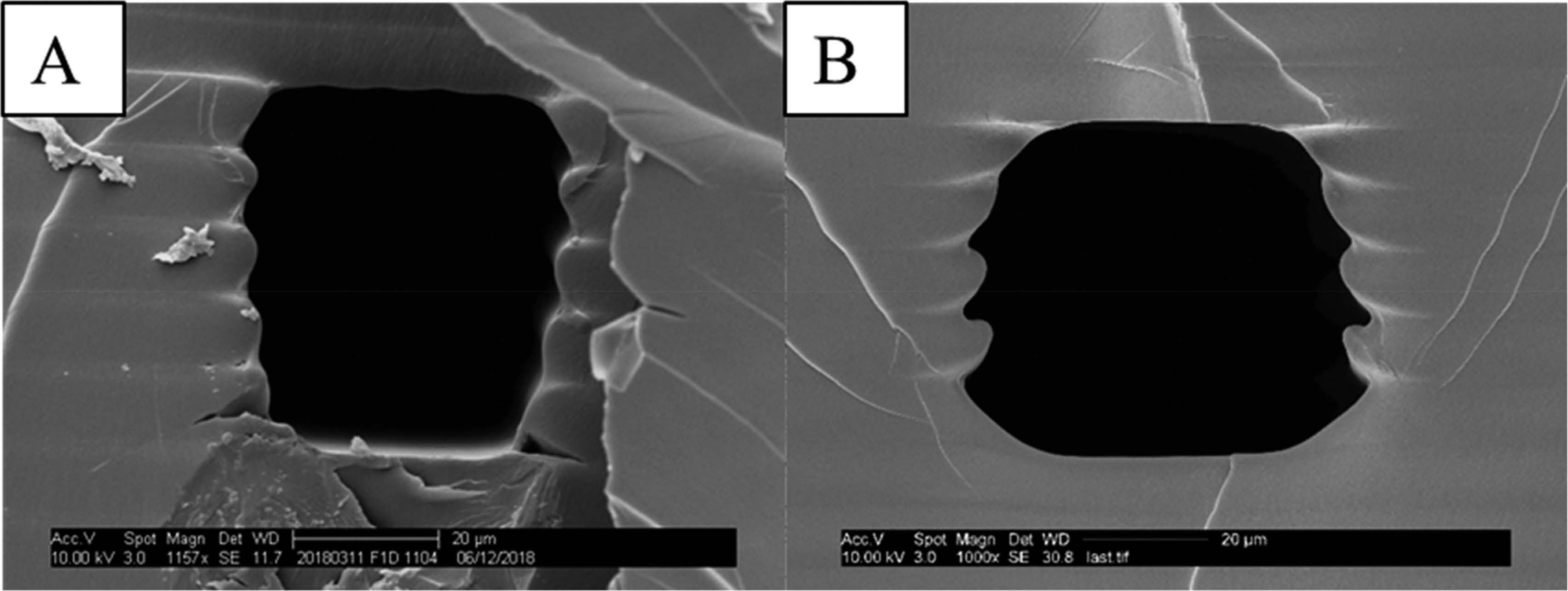 The photo shows two electron microscope images of channels, one very symmetrical and clean, the other rougher and not symmetrical