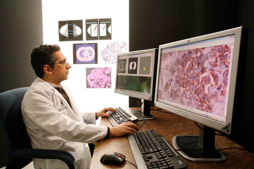 A photo of a doctor looking at two computer screens with scans and microscope images.