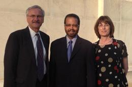 NIBIB Director Dr. Roderic Pettigrew (center), Norbert Pelc, Ph.D. (left) and Gordana Vunjak-Novakovic, Ph.D. (right) following their induction into the NAE.