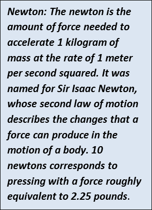 sidebar with definition of a newton.
