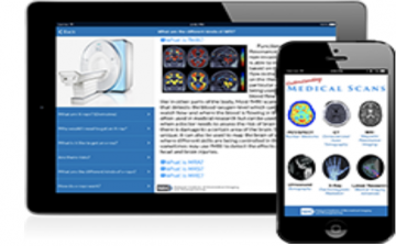 tablet and phone screens showing Understanding Medical Scans app