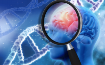 DNA background with magnifying glass looking at a brain