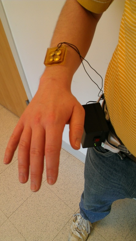 This is an image of a person wearing the therapeutic ultrasound patch used in this study.