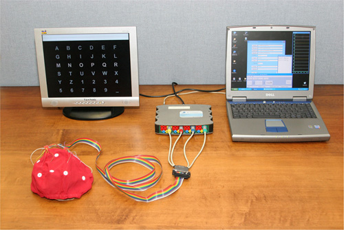 A laptop computer and redesigned cap improve the Wadsworth BCI's portability and ease of use.